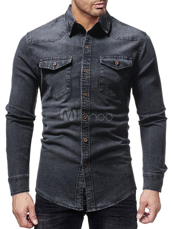 dc0e8ac9a9e Мужская джинсовая рубашка с карманом Серая рубашка в западном стиле с длинным  рукавом-No.
