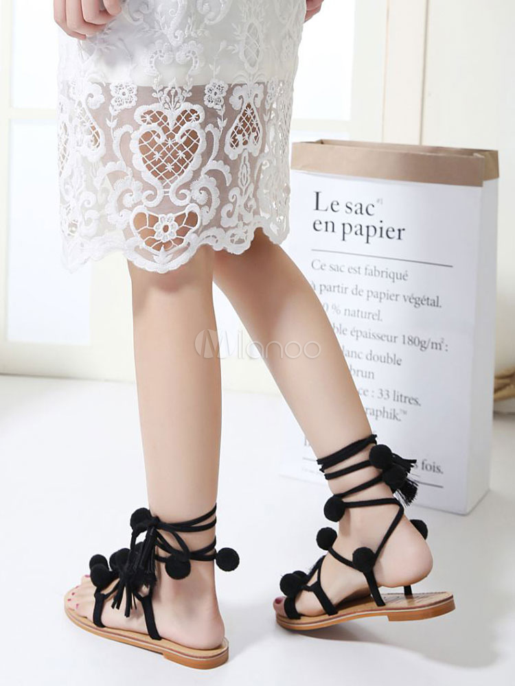 076c9e24d Black Gladiator Sandals Women Toe Loop Lace Up Flat Sandals With Pom  Poms-No.