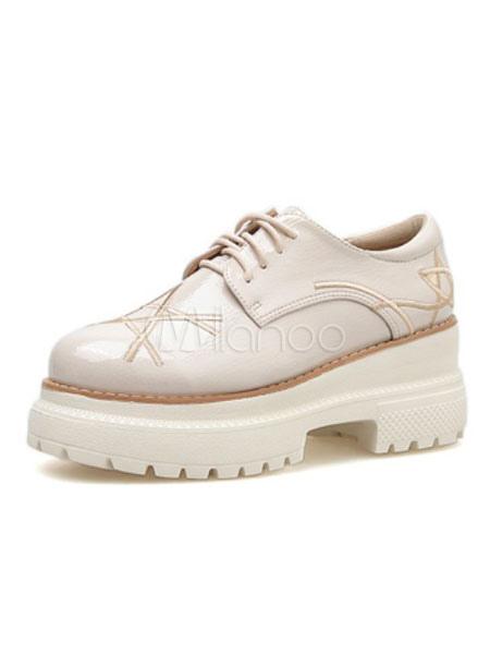 new product 3c1f8 e2aea Scarpe da ginnastica donna albicocca con plateau e scarpe stringate ricamate