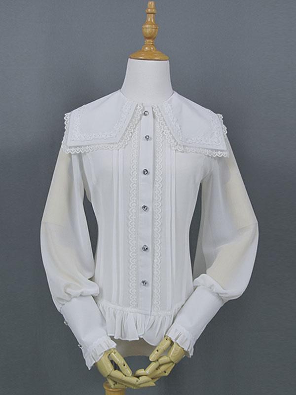 568e08afa1be3d Classic Lolita Shirt Lace Ruffle Gigot Sleeve Chiffon White Lolita Top-No.1  ...