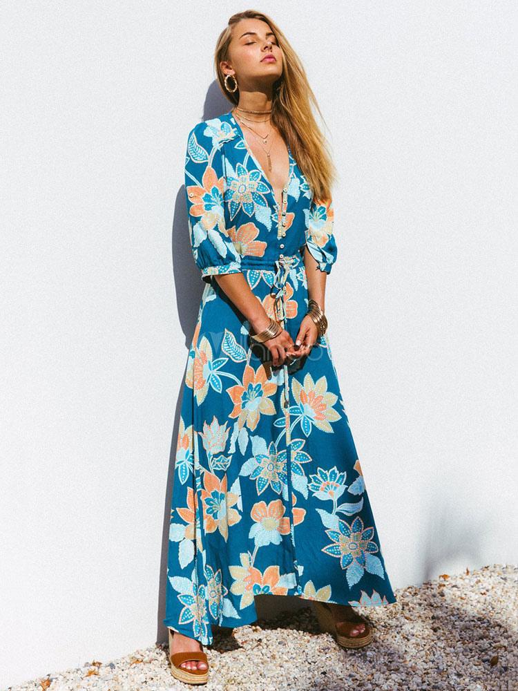 Blumen Maxikleid 2020 V-Ausschnitt Lang Kleid Halbe Hülse ...