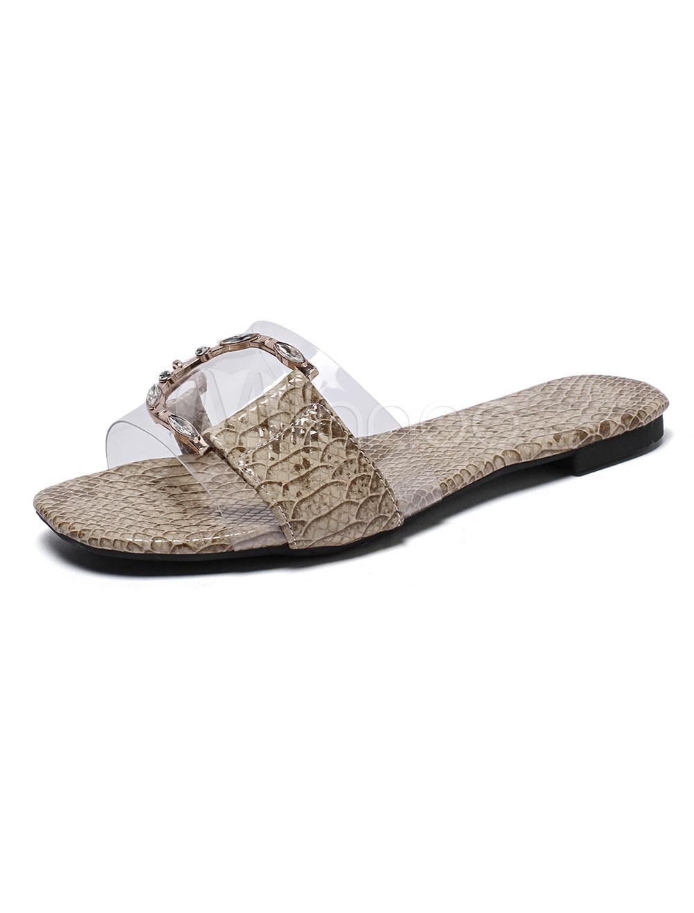 303a857b5c9b Women Sandal Slides Apricot Open Toe Snake Printed Rhinestones Metal ...