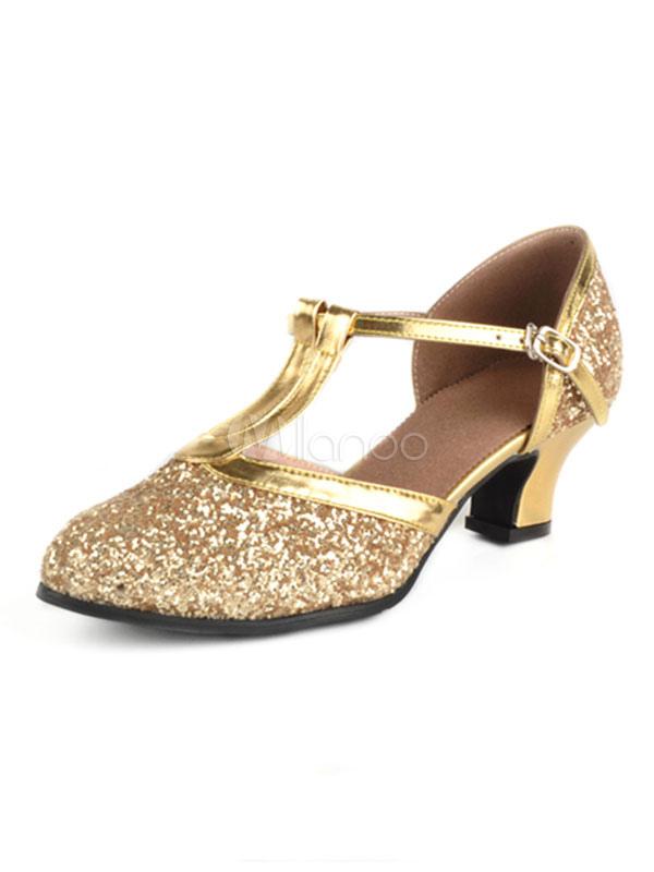 Ballroom Dance Schuhe Glitter Round Toe T Typ 1920er Jahre Tanzschuhe Damen Latin Dance Schuhe