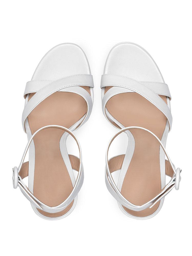 6e63789016b ... Block Heel Sandals White Open Toe Ankle Strap Sandal Shoes Women High Heel  Sandals-No ...