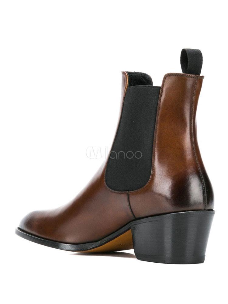 vente chaude en ligne 38c49 c317a Bottes chelsea pour hommes marron à bout rond, bottines, chaussures  d'élévateur en peau de vache