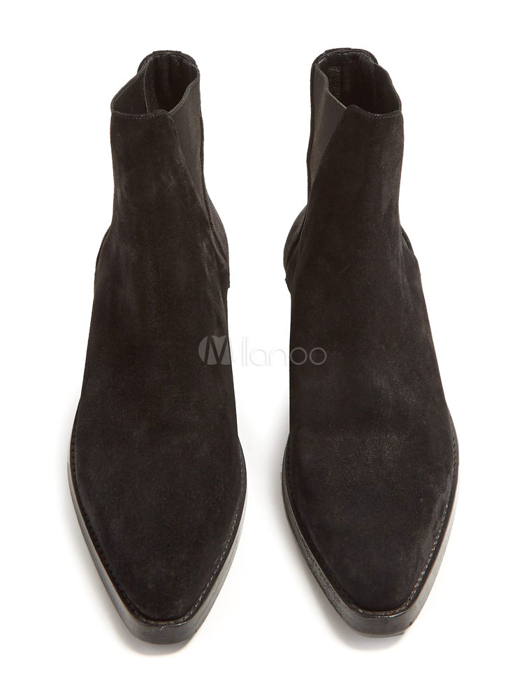 Suede Ankle Boots Black Round Toe