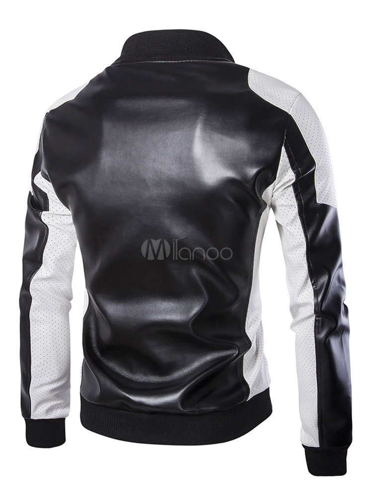 Herren Lederjacke Stehkragen Two Tone PU Leder Spring Daily Jacket