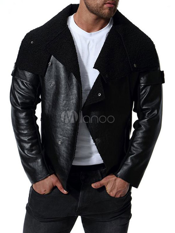 Herren Lederjacke Reißverschluss Haken und Auge PU Leder Frühling Outdoor Jacke
