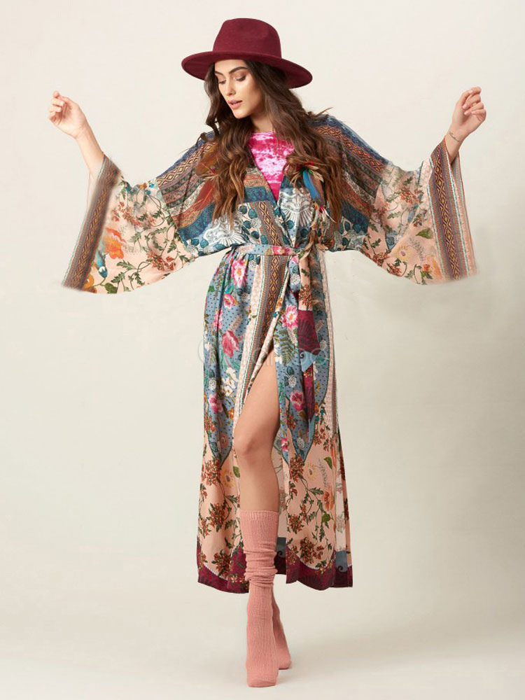 Plus Size Boho Dress Maxi Wrap Dress Print Long Sleeve Women Summer Dress