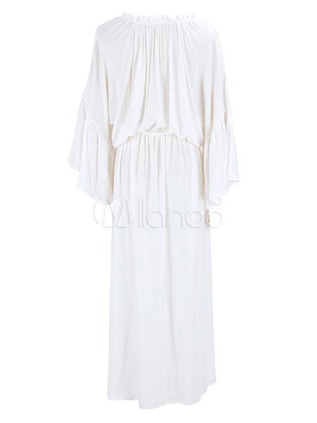 White Boho Dress Plus Size Long Sleeve Maxi Dress Women Beach Dress