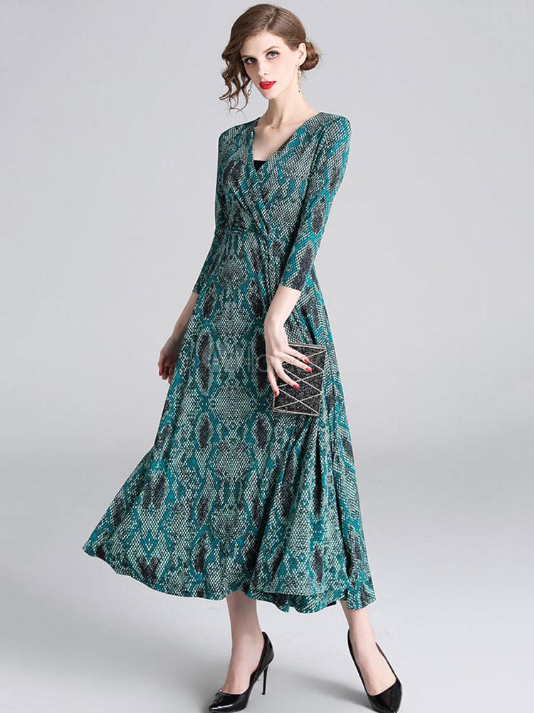 Mit Langes Grüner Frauen Maxikleid V Plissee Ausschnitt Maxi Schlangendruck Kleid Polyester rxdthsQCBo