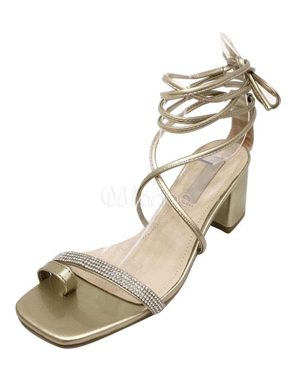 b8e6ddcf704 Women Block Heel Sandals Gold Thong Rhinestones Lace Up Sandals Gladiator  Sandals