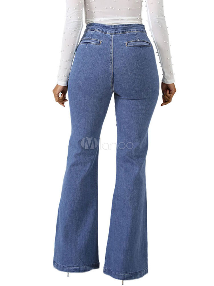 898cb9da652 ... Jeans con parte inferior de campana Rhinestones de talle alto Jeans con  pierna acampanada azul para