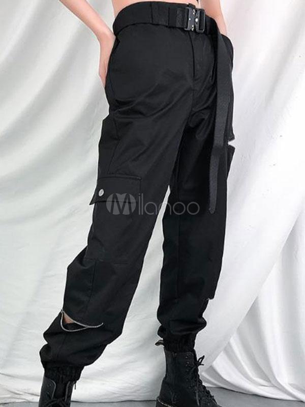 Pantalon Cargo Negro Pantalones De Cintura Alta Con Cremallera Pantalones De Mujer Con Bolsillos Milanoo Com