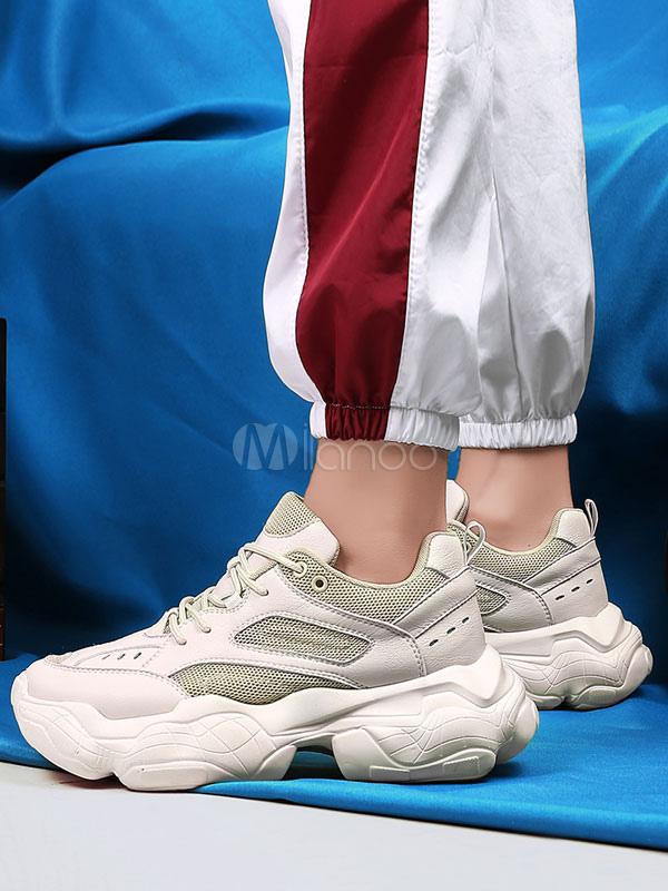 Men Daddy Shoes Ecru White Round Toe
