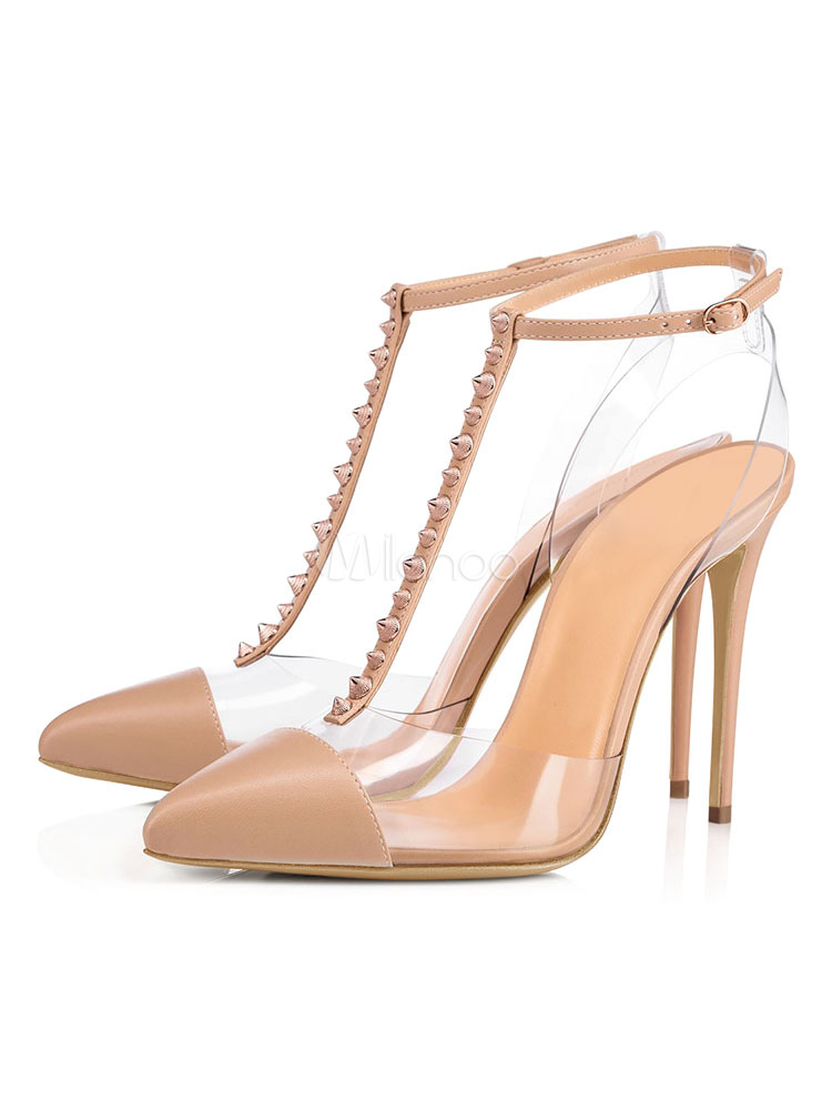 26a6920cfb Nude High Heels Women Pointed Toe Rivets T Type Ankle Strap Pumps-No.1 ...