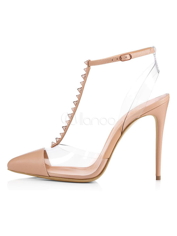 32b5d23ce0 ... Nude High Heels Women Pointed Toe Rivets T Type Ankle Strap Pumps-No.2  ...