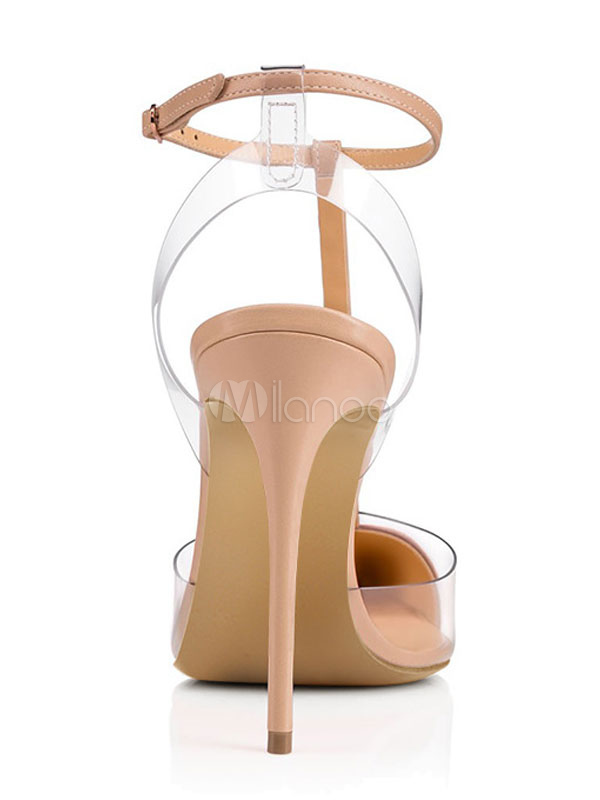 8cd459f773 ... Nude High Heels Women Pointed Toe Rivets T Type Ankle Strap Pumps-No.3  ...