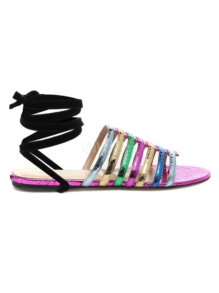 Violet La Plates Sandales Plus Femmes À Pour Lacets Thong 2DIEH9
