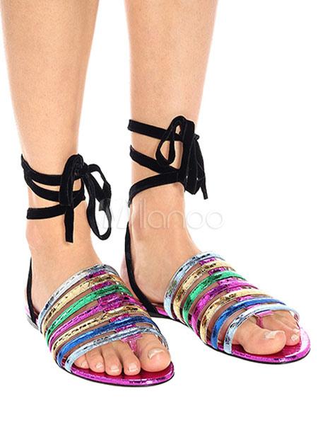 separation shoes d990e a4903 Damen Flache Sandalen 2019 Lila Tanga Schnüren Sandale Übergröße Gladiator  Sandale Schuhe