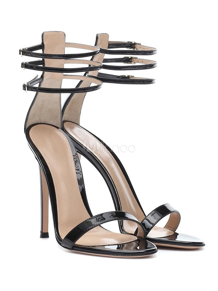 c2cad382e ... Black Dress Sandals High Heel Party Shoes Women Open Toe Ankle Strap  Sandal Shoes-No ...