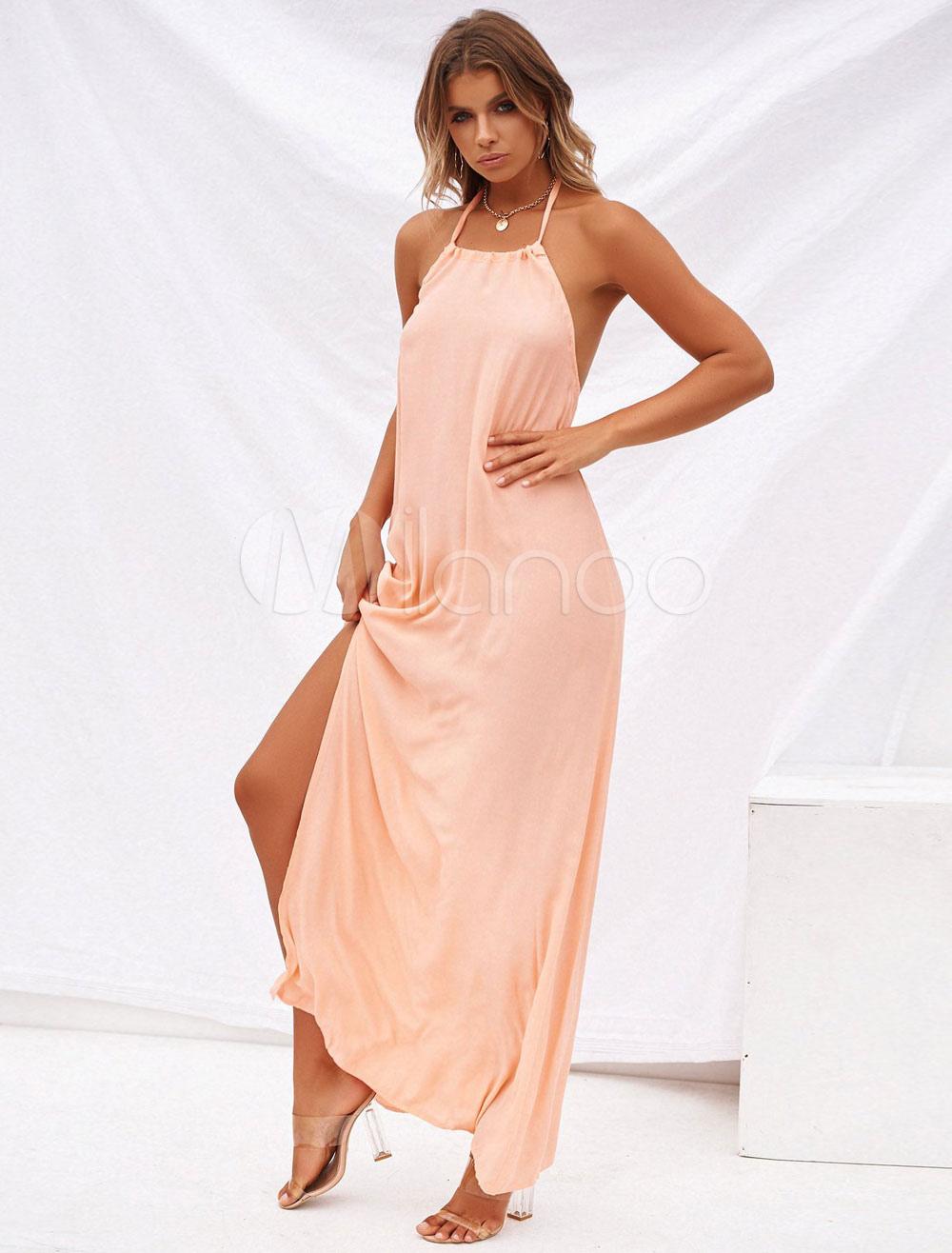 afe19d365576b الوردي فستان ماكسي النساء الرسن عارية الذراعين سبليت شاطئ اللباس ...