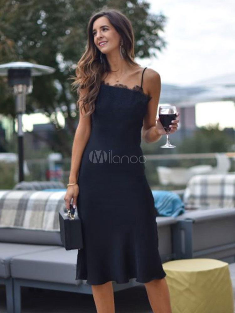 super popular e1707 c0e74 Abito nero aderente con cinghie Stretto vestito stretto tubino estivo in  pizzo nero