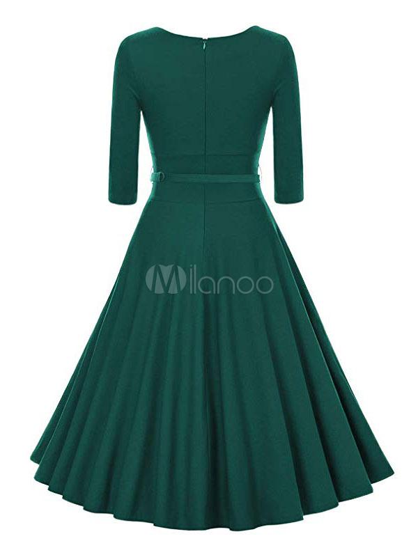 Vintage Kleider Grün Rockabilly Kleid mit Falten 1950er ...