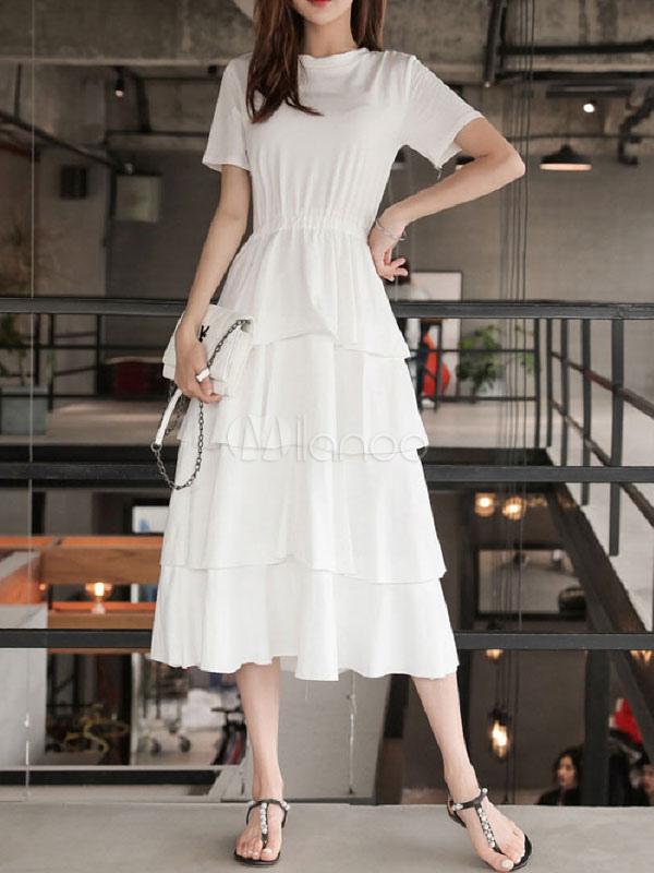 White Summer Dress Layered Short Sleeve Plus Size Tiered Flared Dress