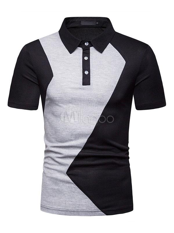 mirada detallada 050f8 598ec Camisa polo negra Hombres Camisa de cuello redondo Manga corta Slim Fit  Casual Camisetas