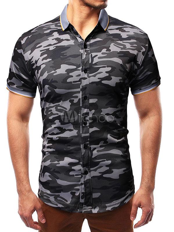 c65ea0dba8cbe Short Sleeve Shirts Men Turndown Collar Camo Printed Slim Fit Casual  Shirt-No.1 ...