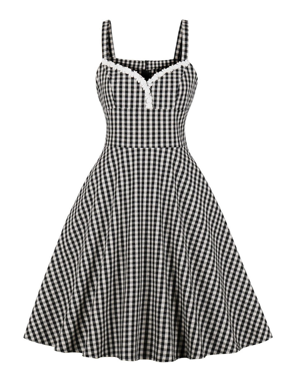 plaid vintage dress 1950s lace sweetheart sleeveless women pin up pleated  swing retro dress