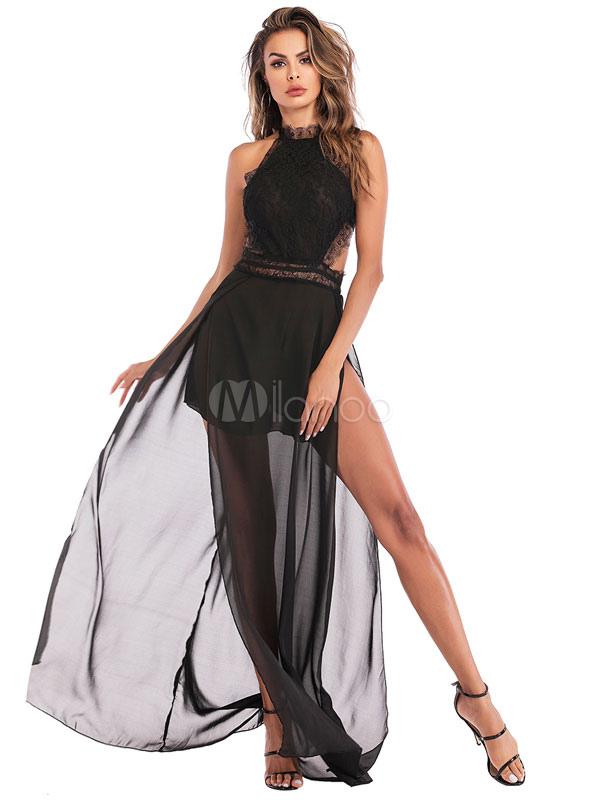 4dcb26f2f5d4 Black Maxi Dress Lace Split Backless Sheer Women Summer Dress-No.1 ...
