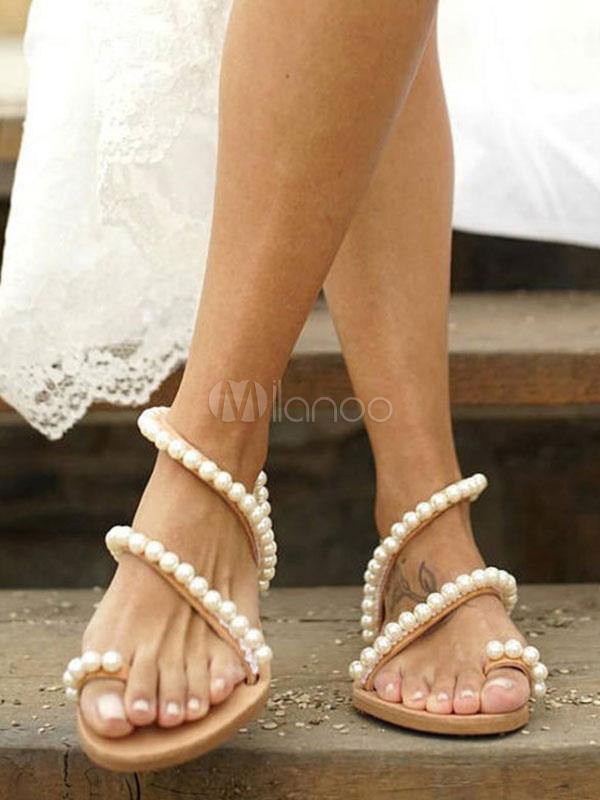 94e1712a45a ... Sandalias planas blancas para mujeres 2019 punta detalle de perlas, sandalias  con tiras-No