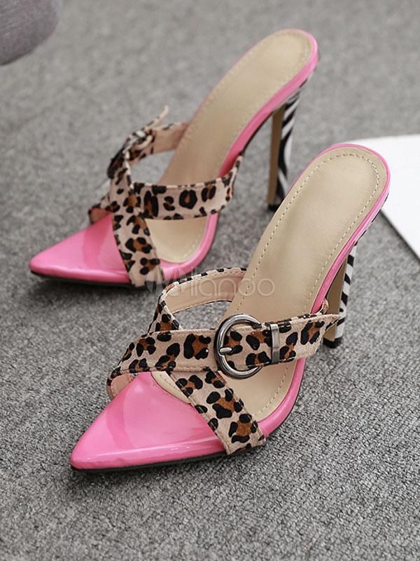 f6d52f28b48d High Heel Sandals Women Leopard Open Toe Buckle Detail Sandal Slippers-No.1  ...