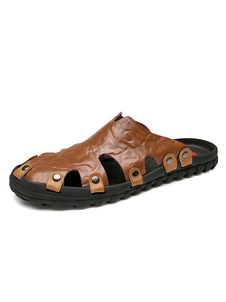 Plates Men Cuir On Sandales En Sandale Chaussures Slip orBxWedC
