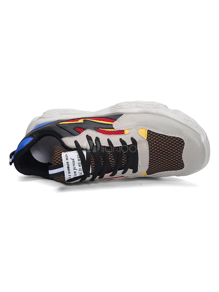Männer Daddy Schuhe Sneaker Atmungsaktives Mesh Color Block Sportschuhe