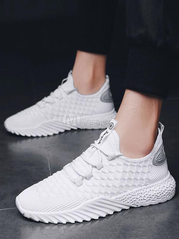 a basso prezzo 01bcc 19d66 Sneakers bianche da uomo 2019 Scarpe sportive traspiranti e rotonde