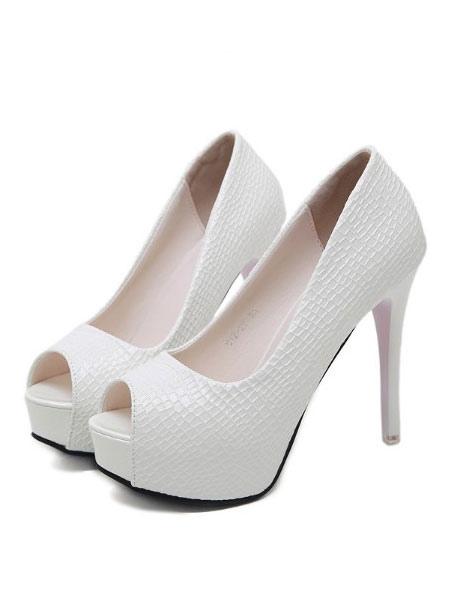 Para De Zapatos 2019 Blancos Toe Peep Vestir Tacones Con Mujeres f6gvbYy7