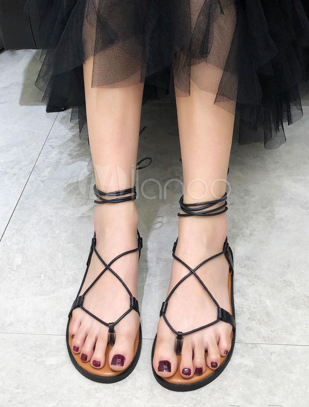 Black Gladiator Sandals Women Thong