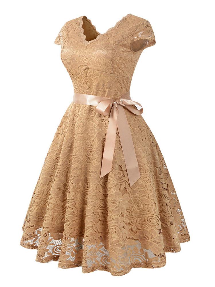 Robe En Dentelle Vintage Des Annees 1950 V Neck Sleeve Bow Sash Retro Swing Dress Milanoo Com