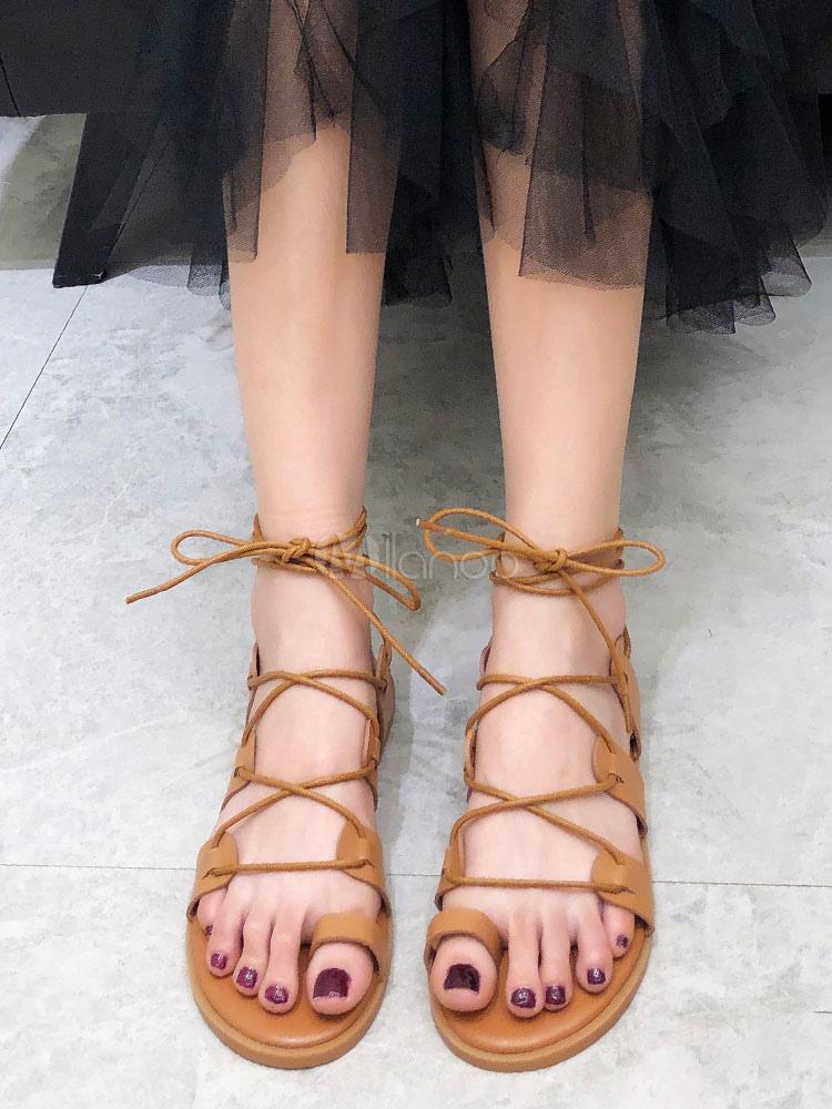 cheaper ec49e 78e82 Brown Gladiator Sandalen Damen Zehe Schleife Schnüren Flache Sandale Schuhe