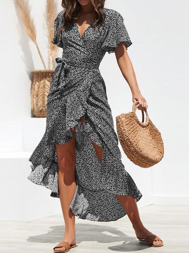 Maxikleid kurze Ärmel Langes Kleid V-Ausschnitt Polyester ...
