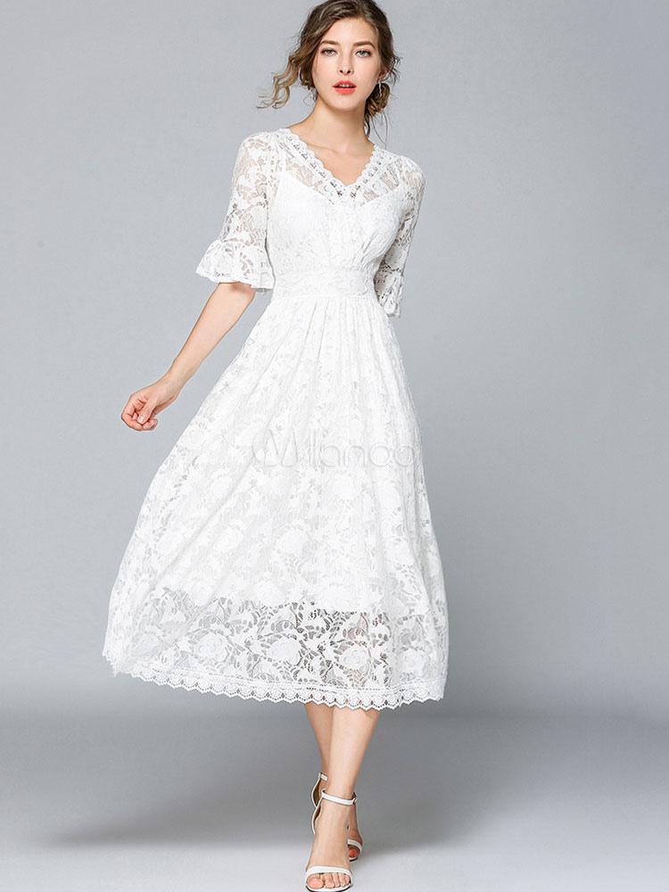 the latest d3753 58f27 Spitze Weißes Kleid Frauen V-Ausschnitt, Halbarm Maxi Partykleid