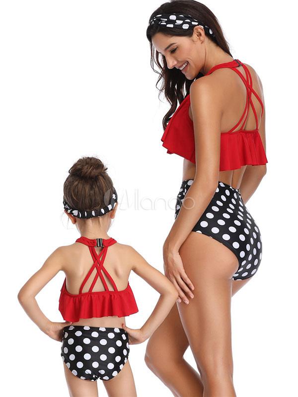 Traje de baño de dos piezas para padres e hijos Polka Dot ...