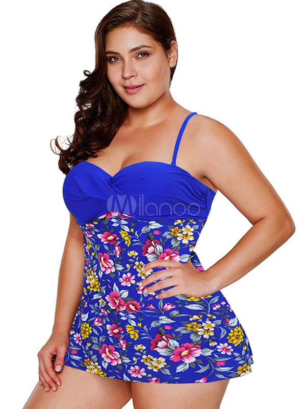 57d9c7ec1d Maillot de bain de plage avec jupe grande taille à imprimé floral pour  femme Maillots de ...