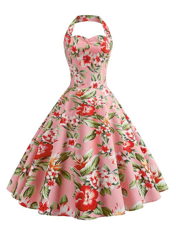 mejor selección e9966 4914b Vestido vintage floral mujer años 50 Rockabilly vestido de verano