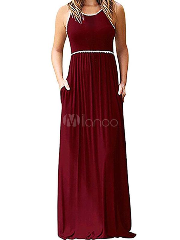 summer maxi dress robe longue sans manches pour femme. Black Bedroom Furniture Sets. Home Design Ideas