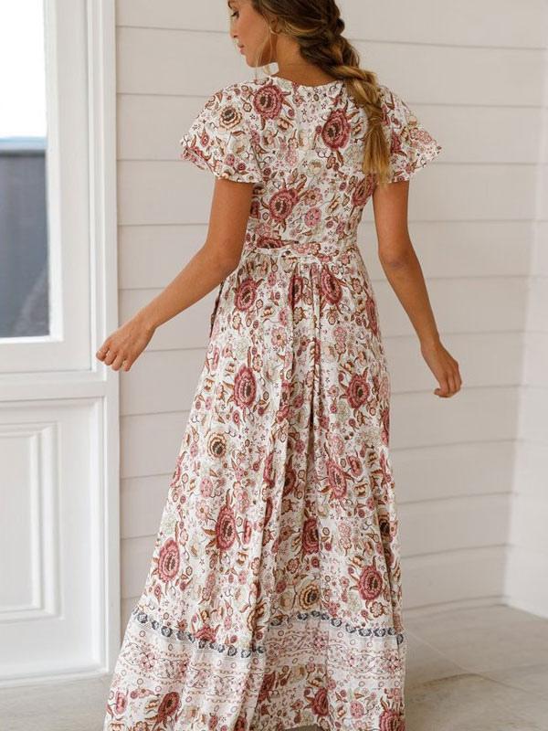 robe de soir e 2019 boh me femme robe de th d 39 t col en. Black Bedroom Furniture Sets. Home Design Ideas