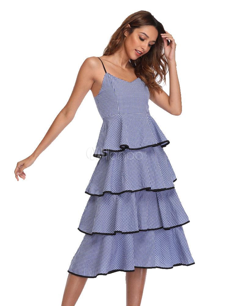 9d2d6c92a1 Tiered Slip Dress Plaid Women Sleeveless Long Summer Dress - Milanoo.com